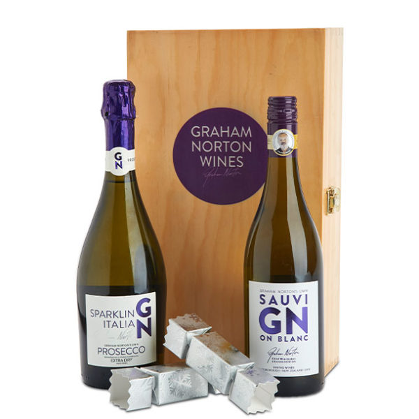 GN Sav Blanc box and Prosecco with chocolates